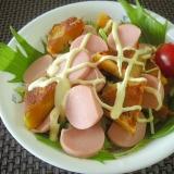大豆粉パンケーキと魚肉ソーセージのサラダディッシュ