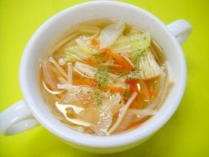 キャベツとえのき玉ねぎのコンソメスープ