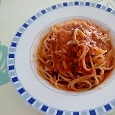 ジュースで!ツナトマトパスタ++