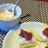 クリームチーズと桃の皮のカナッペ