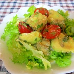 焼きナス、アボカド、プチトマトのシソマリネサラダ