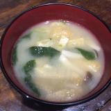 揚げと小松菜のお味噌汁
