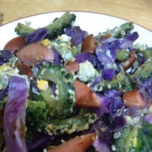 紫キャベツDEゴーヤーチャンプル(´∀`)
