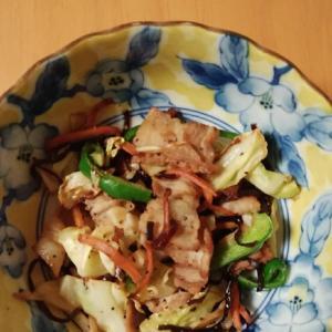 肉野菜の塩昆布炒め