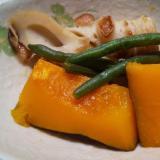 ル・クルーゼで☆彩りかぼちゃ煮☆千代の一番だし使用