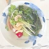 胡瓜、ラディッシュ、ワカメ、カシューナッツの和え物