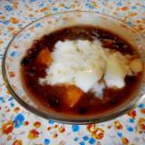 かぼちゃ小豆のミルクゼリーのせ