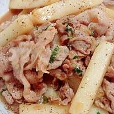 豚肉と長いもの炒め物(大葉風味)