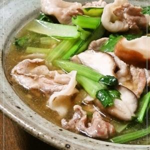 麺つゆと柚子胡椒で*小松菜と豚肉のさっと煮