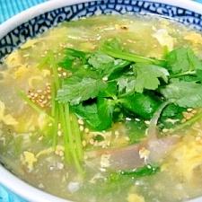 みょうがとレタスの中華スープ