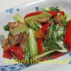 豚肉とチンゲン菜のオイスター炒め