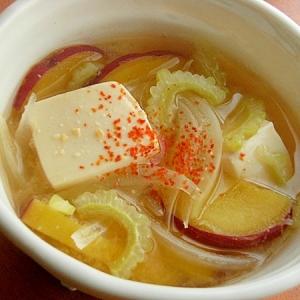 夏バテにも!ほろ苦甘い❤ゴーヤ&薩摩芋の味噌汁♪