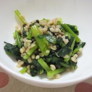 食感を楽しむ☆小松菜と蒸し大麦の実山椒和え
