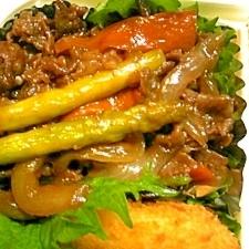 お弁当に♪牛肉とアスパラのオイスター炒め