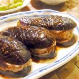 茄子のひき肉挟み焼き
