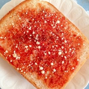 ケチャップと粉チーズと黒胡椒でトースト☆