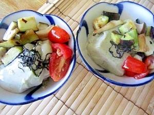 ∝10分抹茶豆腐と茄子焼き海苔奴サラダ∝