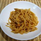 給食の味目指して、自己流ミートスパゲティ