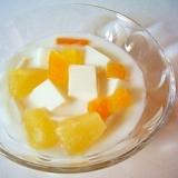寒天で、シロップと杏仁豆腐