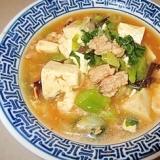 ネバネバピリ辛♪つるむらさき入りマーボー豆腐