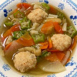 つくね団子と根菜の時短スープ