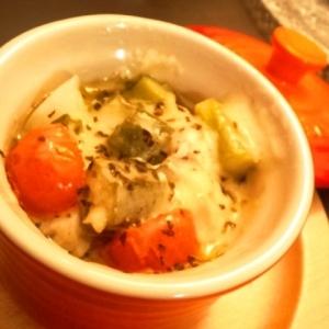 ルクルーゼで作る☆白身魚と野菜のイタリアン蒸し