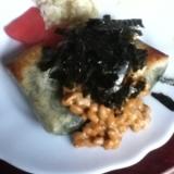 ヨモギ入り切り餅の磯部納豆