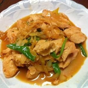 鶏肉とネギとピーマンの生姜炒め