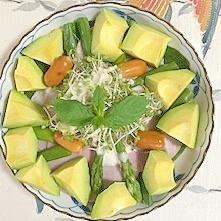 ほうれん草、ロースハム、アボガドのサラダ