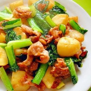 じゃがいもと豚肉小松菜のすき焼きのタレ炒め