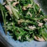 ☆簡単なのに美味しい!人参の葉と水菜のツナ缶和え☆