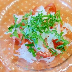 簡単ヘルシー☆トマト・新玉葱・大葉のポン酢和え☆