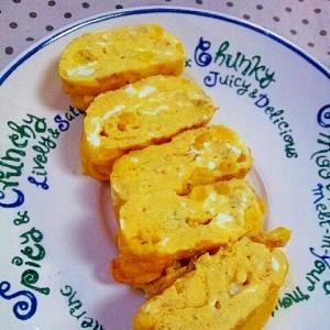 卵1個でお弁当にも✿チーズとコーンの卵焼き❤