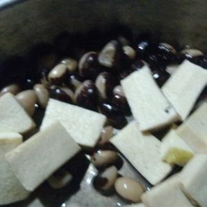 高野豆腐と豆のからし和え