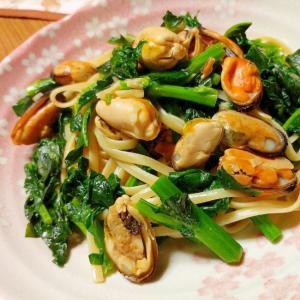 かき菜とムール貝のパスタ