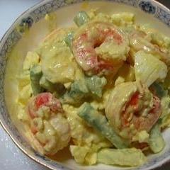 エビとアスパラの卵サラダ