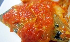 圧力鍋で☆骨も食べたい!和風さばトマト