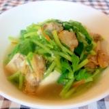 豆腐とアサリと豆苗のとろみ煮