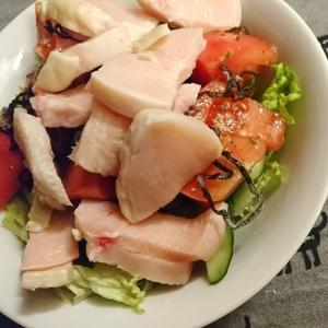 茹で鶏の塩昆布サラダ