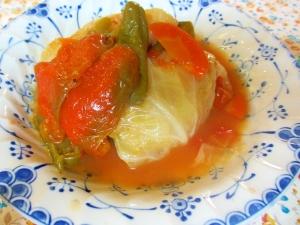 豆腐入りロールキャベツとピーマンのトマト煮