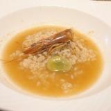 【鹿児島食材】車海老と空豆、蕎麦の実雑炊