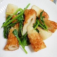 自家栽培の小松菜と、ちくわの炒め物