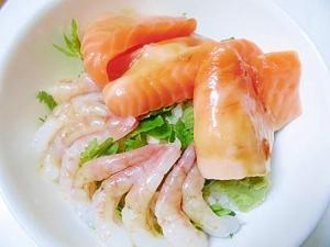 サーモンのハラミと甘海老の 海鮮丼