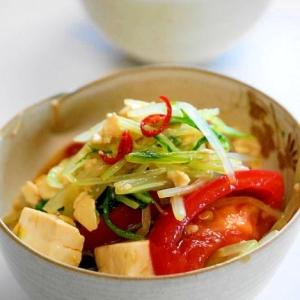 和風ドレッシング!水菜とトマトと豆腐のサラダ