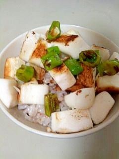 焼きはんぺんとしし唐のせご飯