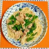 ツルムラサキと豚肉の素麺チャンプルー♪