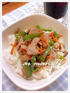 野菜と豚肉のオイスターソース丼