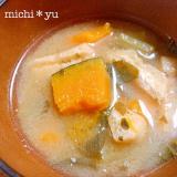 かぼちゃと小松菜のごま香る味噌汁