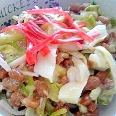 納豆の食べ方-カニカマ生姜キャベツ♪