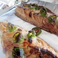 藻塩麹しし唐鯖ホイル焼き